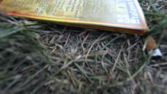 After party grass with cigarettes and a flyer Stock Footage
