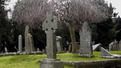 Church Grave Yard stones Stock Footage