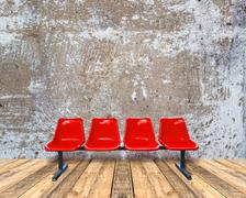 Red chair on a wooden floor and grunge texture background Stock Photos