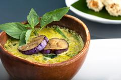 Stock Photo of Green Curry with Eggplant