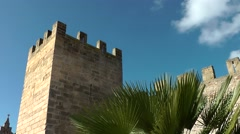 Spain Mallorca Island Alcudia 011 fortress watchtower with palm leaves Stock Footage