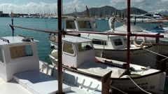 Spain Mallorca Island Port d'Alcudia 007 Spanish fishing boats berthed at pier Stock Footage