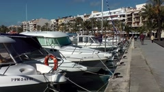 Spain Mallorca Island Port d'Alcudia 003 boats berthed at the pier Stock Footage