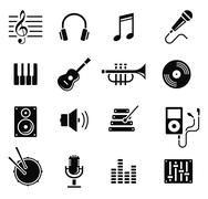 music and multimedia icons, vector - stock illustration