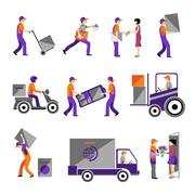 Delivery, courier service, person freight logistic business service icons - stock illustration