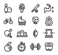 Fitness and Health, sport icons White Background Stock Illustration