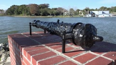 Old Cast Iron Cannon On Display By Shoreline Stock Footage