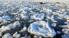 Arctic frozen sea melting in the end of winter Stock Footage