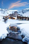 Ski resort in French Alps Stock Photos