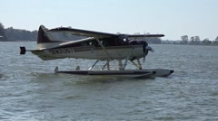 Seaplane Floating On Lake Engine Starting With Audio Stock Footage