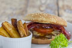 Hamburger and Fries - stock photo