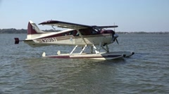 Seaplane Floating On Water Sunny Day Stock Footage