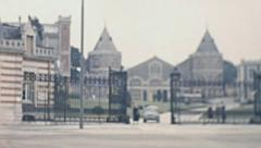 Reims 1950s: people visiting the castle Stock Footage