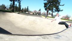 Skate Park Concrete Bowl Skater 2 Stock Footage