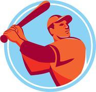 Baseball Batter Batting Bat Circle Retro - stock illustration