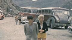 Great St Bernard, Switzerland 1950s: visitors walking Stock Footage