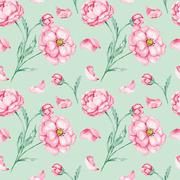 Watercolor pattern with red flowers Stock Illustration