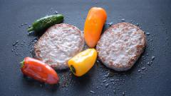 Burger Patty Cooked With Peppers Stock Footage