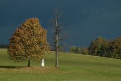 Column of the crucification with by two trees - stock photo