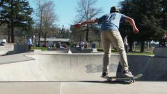 Skate Park Skaters in Bowl Stock Footage