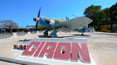Cuba Playa Giron museum of the Bay of Pigs fighting in battle with plane used in Stock Footage