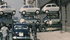 Turin, Italy 1950s: truck with FIAT 600 entering into the factory - stock footage