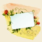 aquarelle frame with roses - stock illustration