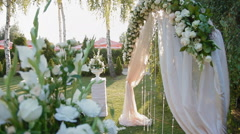 Wedding decoration of natural flowers - stock footage