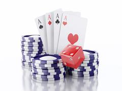 3d dice, cards and chips. Casino concept. Isolated white background Stock Illustration
