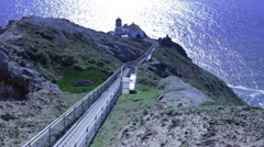Footage looking down the long stairway to the lighthouse at Point Reyes Stock Footage