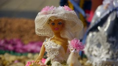 Barbie doll, an exhibition of toys, children playing with dolls, - stock footage