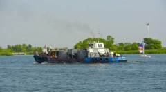 Tug is on the river, trawl, ships, river Stock Footage