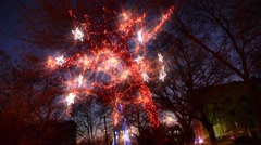 Lights on the tree, The Polar Express, kids ride on toy train New Year express, Stock Footage