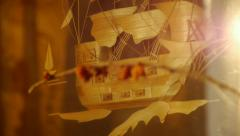 Old painting, handmade, dry leaves, old, painting on the wall, wooden ship Stock Footage