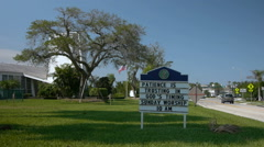 Church sign 'Patience is trusting God's timing' Stock Footage