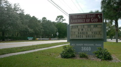 Church sign 'Smile, it raises your face value'. Stock Footage