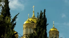 4K time lapse shooting of a Russian Orthodox cathedral church with golden onion Stock Footage