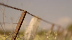Barbwire fence rack focus into outback country landscape - stock footage