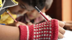 Kathmandu Nepal children draw in art class at childrens home in Eastern - stock footage