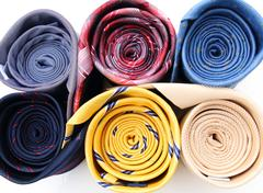 set of colorful ties close-up - stock photo
