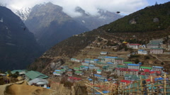 Nepal Himalayas The village of Namche Bazarre, shot from a view point at the top Stock Footage