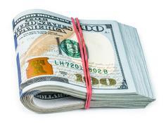 Bundle Of Money Isolated On A White Background Stock Photos