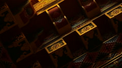 Nepal Himalayas  Ornate temple ceiling at the Kharigandentenphelling Monastery Stock Footage