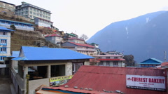 Himalayas Nepal houses and lodges stand in the village of Namchee Bazarre, Stock Footage