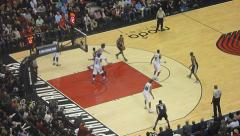 Spurs vs Trailblazers Exchanging Baskets Stock Footage