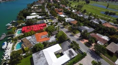 4k aerial mansions in Miami video footage Stock Footage