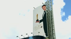Stock Video Footage of 4K, UHD, Oscar academy award nomination billboard, Dolby Theater in Los Angeles