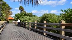 Miami Beach boardwalk 32nd st Stock Footage