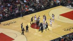 Spurs vs Trailblazers Tip Off Stock Footage