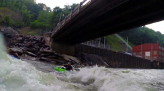 Whitewater kayaker paddling on Ocoee River in Ducktown, Tennessee USA Stock Footage